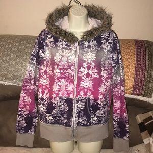 Self esteem large Sherpa lined zippered hoodie